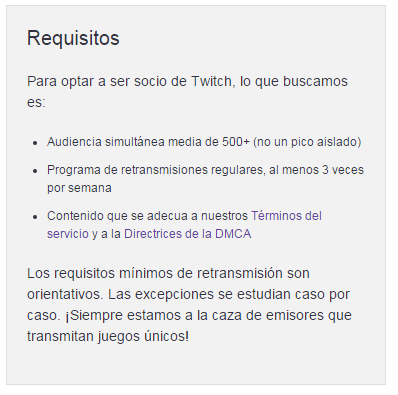requisitos para ser partner de twitch